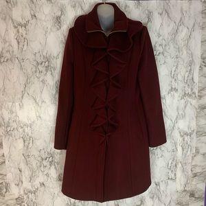 Elie Tahari Long Maroon Red Ruffle Pea Coat Jacket